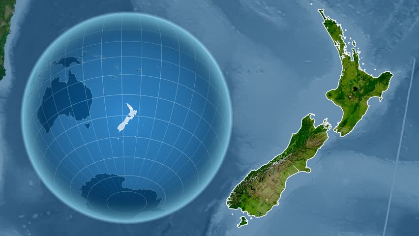 New Zealand Shape Animated On The Physical Map Of The Globe Stock
