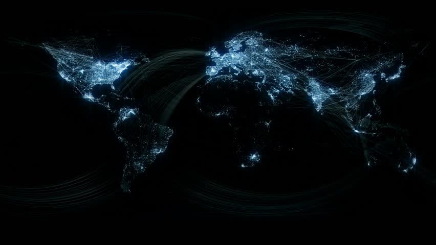 Glowing Network Lines Lighting Up World Map   Shutterstock HD Video #1540954