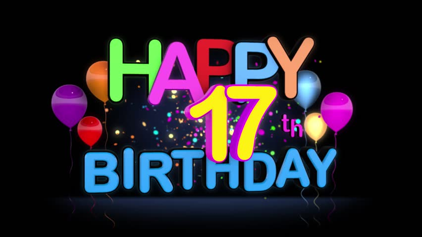 Happy 17th Birthday Title Seamless Stock Footage Video 100