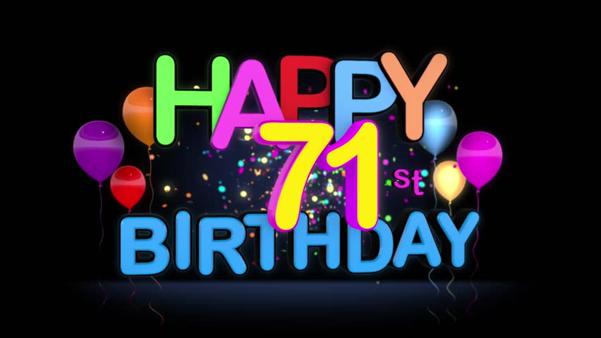 Happy 71st Birthday Title Seamless Stock Footage Video