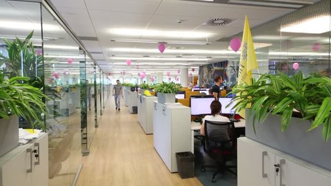 MOSCOW - JUN 03, 2015: Modern office. Tinkoff Bank - only full online bank in Russia