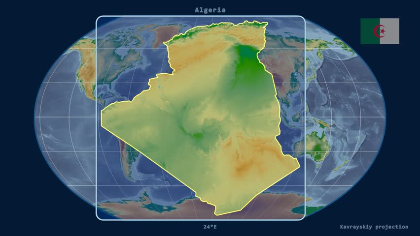Zoomedin View Of A Algeria Outline With Perspective Lines Against - Physical map of colombia