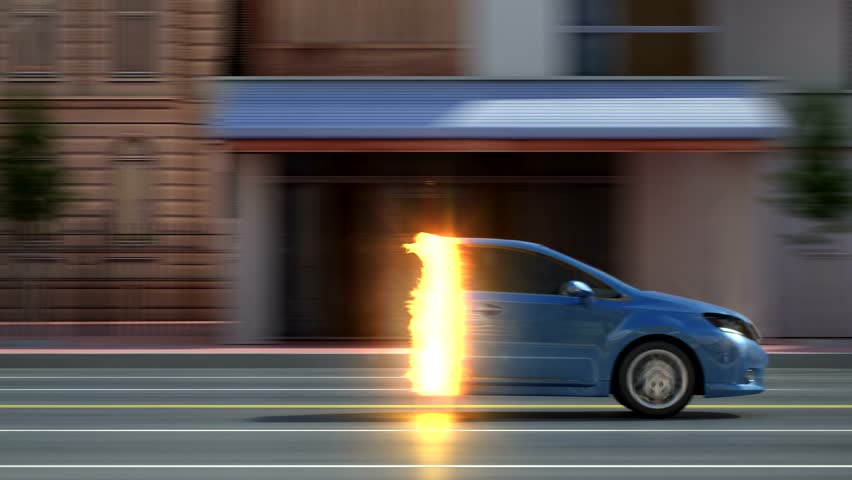 City car from invisible state to visible with flames style