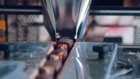 Food packaging line/Closeup/Sweet food production line/Food processing plant/Packaging process of cheese rods/Food factory/Chocolate desserts on conveyor belt at chocolate factory