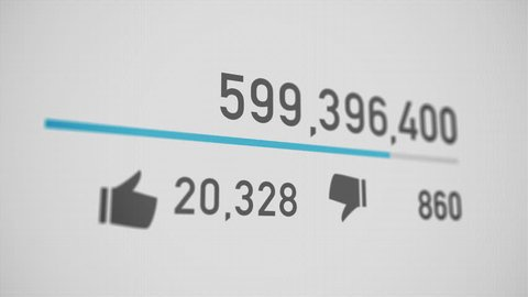 A close up of a video counter quickly increasing to 1 billion views. Perspective version.