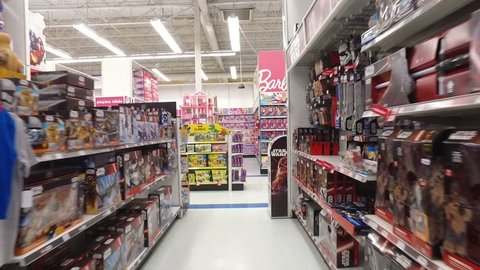 POINTE-CLAIRE, CANADA - MARCH 2016: Barbie Girls Toy Store - Smooth Steadicam