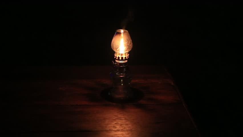 Burning Kerosene Lamp At Night, Close Up Stock Footage Video ...