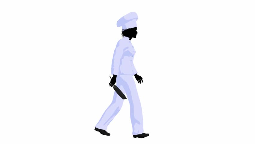 Chef walking with a skillet on a white background   Shutterstock HD Video #1550377