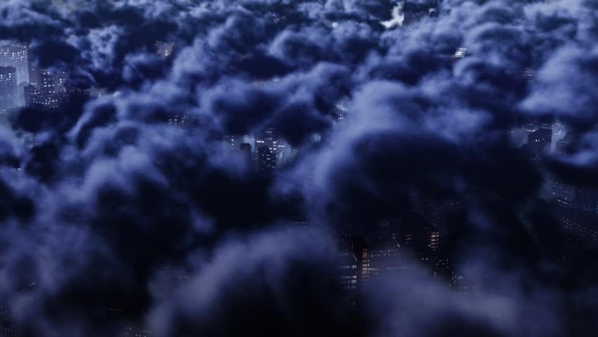 3d flight over big city above clouds at night. Perfect loop.
