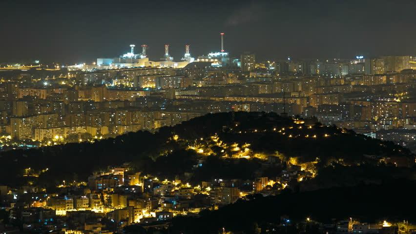 Panorama of Barcelona night timelapse from Mount Tibidabo. Catalonia, Spain. | Shutterstock HD Video #15520687