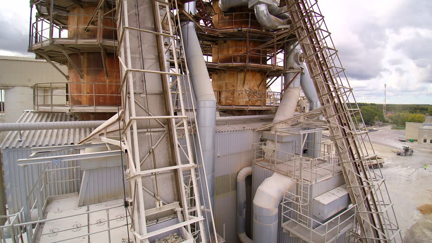 The heavy cranes inside the building that processed the limestones inside the factory | Shutterstock HD Video #15527677