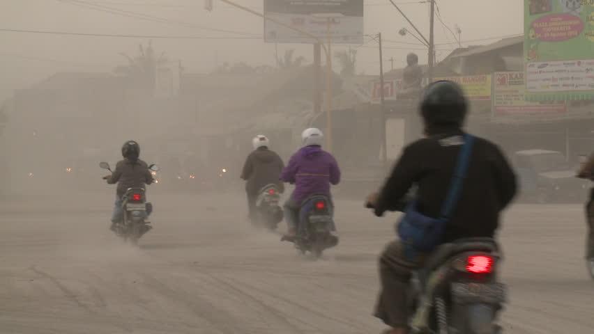 YOGJAKARTA, INDONESIA - OCTOBER 2010: Volcanic Ash Chokes City During Eruption Crisis - Shot on Sony EX1 Full HD 1920x1080 30p.