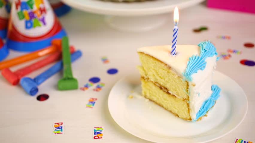 Simple White Birthday Cake Slice Stock Footage Video 100 Royalty