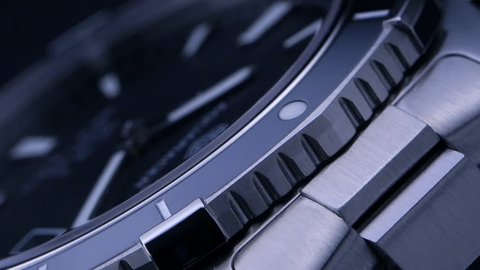 Luxury watch - macro studio shot / Beautiful stainless steel mechanical watch - made in Switzerland
