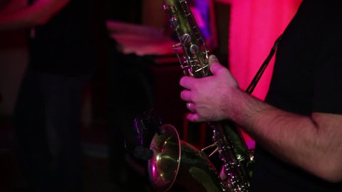 Professional Musician Plays the Saxophone. Musician Plays the Saxophone on the Concert Platform. Shot on Camera Canon 5d Mark 2