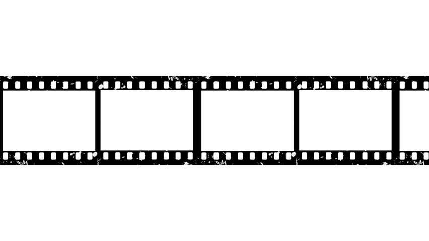 film strip moveing on white background  seamless loopable black and white video footage
