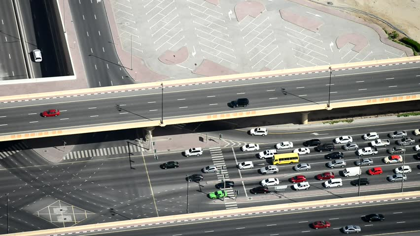 Dubai road traffic aerial view. | Shutterstock HD Video #15637027