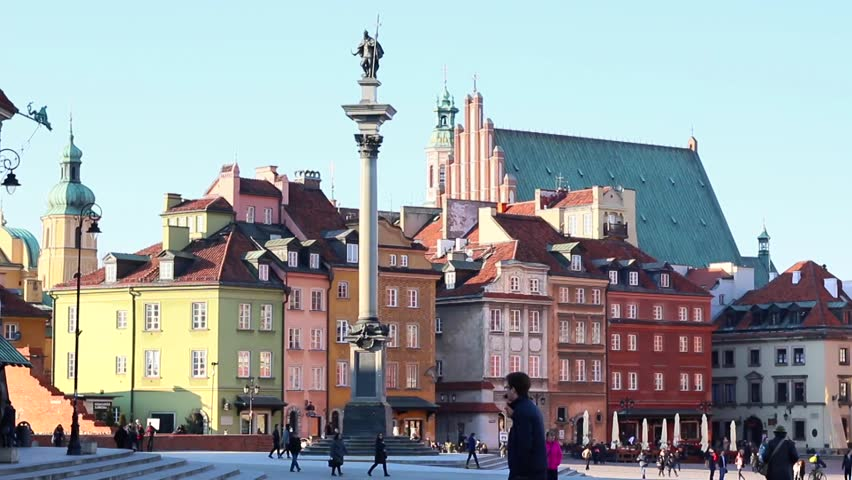 Old Town and Vasa Column in Warsaw is placed on the UNESCO's list of World Heritage Sites. The main historic attraction for tourists in capitol of Poland. March, 2016 | Shutterstock HD Video #15638488