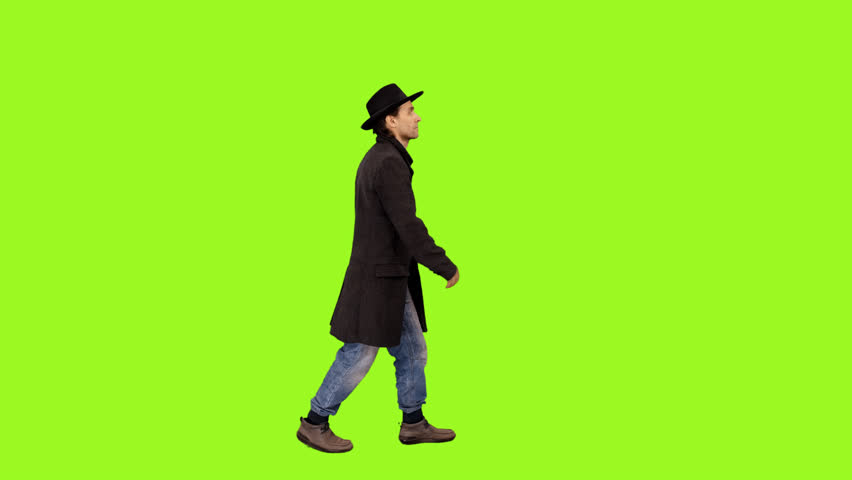 A man walking on a transparent background, Full HD shot with alpha channel