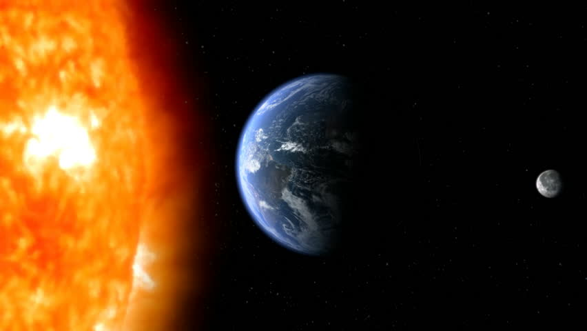 View of earth from space with moon and sunlight in background high planet earth with moon and sun in space hd stock video clip voltagebd Choice Image