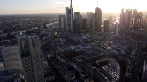 Aerial shot Frankfurt Skyline