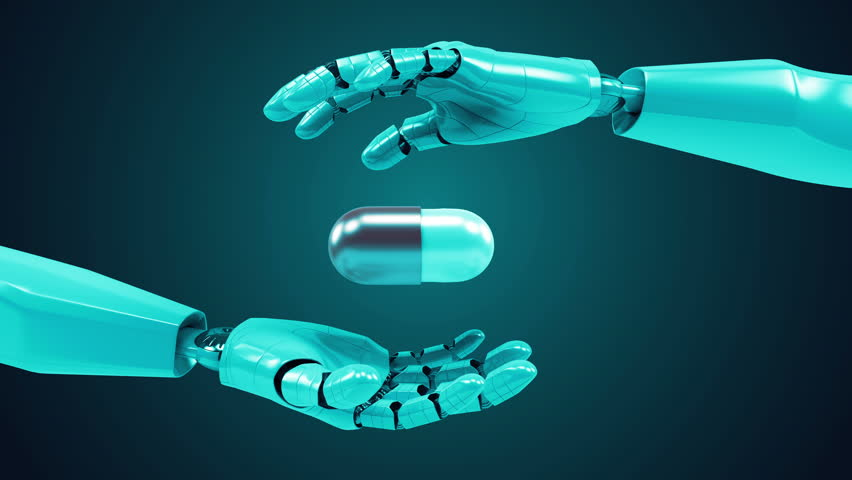 A robotic mechanical arm with pill. Strong stylish futuristic design concept. Cybernetic organism with Artificial Intelligence. Loopable video. #15723157