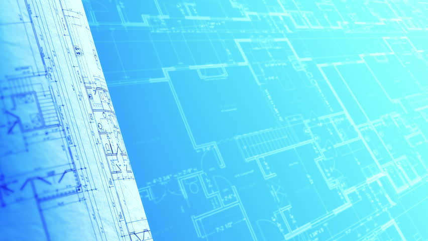 Blueprint Animated Loop House Plan Background Stock
