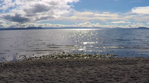 NEW ZEALAND - LAKE TAUPO - APRIL 2016 - New Zealand's largest freshwater lake, Lake Taupo is a popular destination for holidaymakers and fishing.