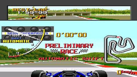 URYUPINSK. RUSSIA - APRIL 7, 2016: Gameplay game console Sega Genesis Ayrton Senna's Super Monaco GP II - Formula 1 race retro console games on April 7 2016 in Urupinsk, Russia