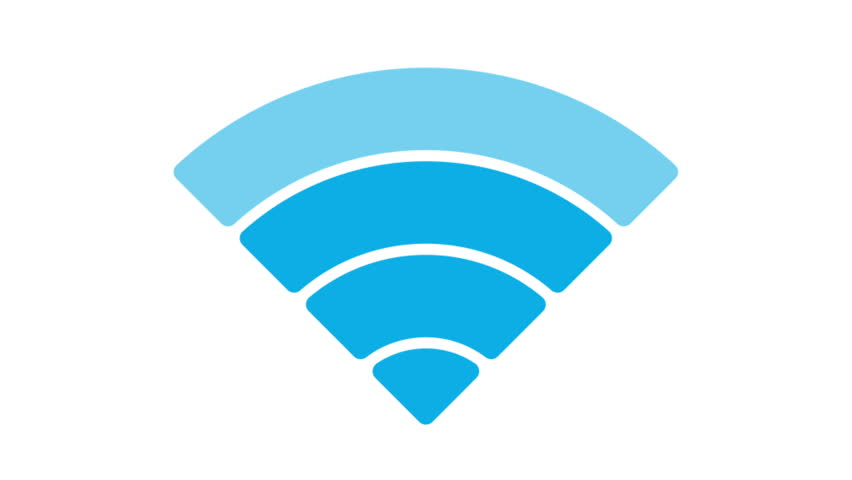 Wireless network icon. Wi-Fi symbol. Animation of wifi element in 4K on white. Alpha matte channel included.