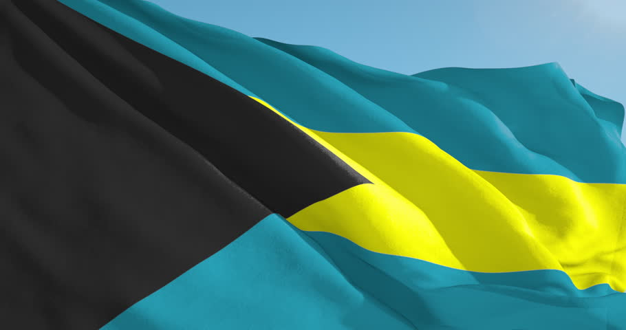 Beautiful looping flag blowing in wind: Bahamas