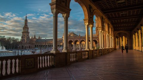 SEVILLE, SPAIN - April 13, 2015: Time-lapse from the Plaza de España. It is a famous square located in the María Luisa Park, built in 1928 for the Ibero-American Exposition of 1929.
