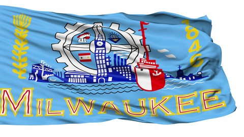 Milwaukee City Flag Isolated Realistic Animation Seamless Loop - 10 Seconds Long