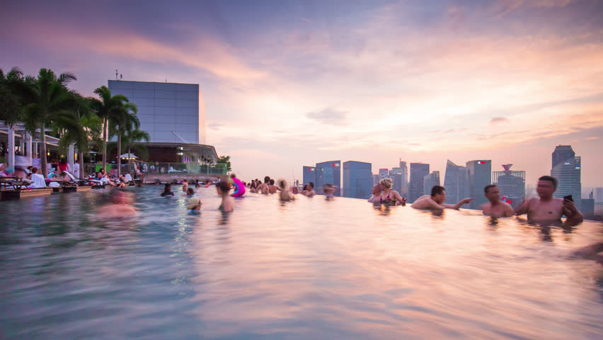 Stock video of singapore january 2016 sunset crowded - Least crowded swimming pool singapore ...