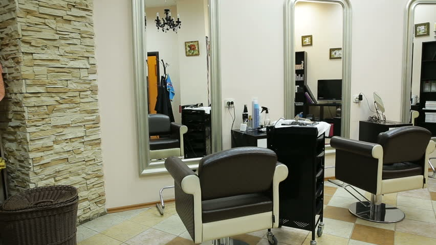 interior with chairs in new beauty room with three working places in the