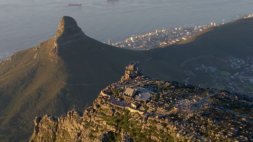 Aerial over Cape Town, and the cableway station on Table Mountain
