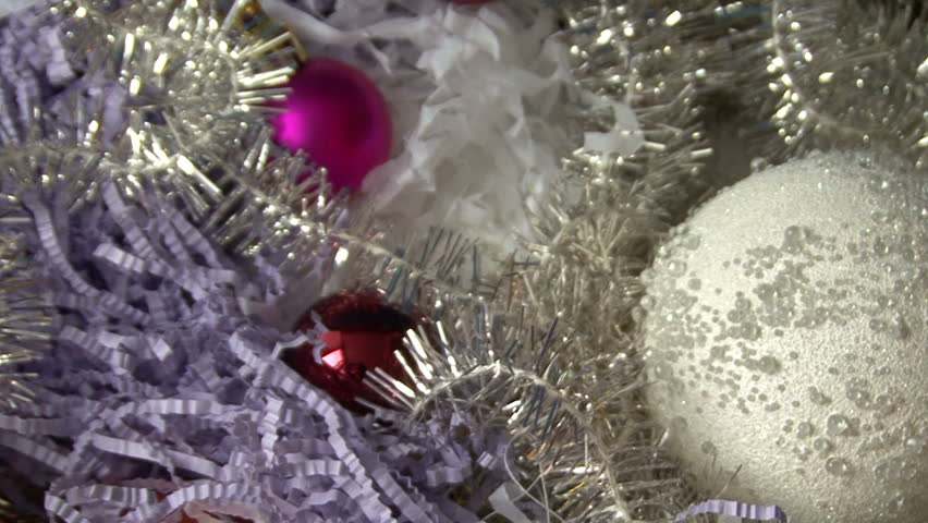 Christmas tinsel and balls in the box | Shutterstock HD Video #15856777