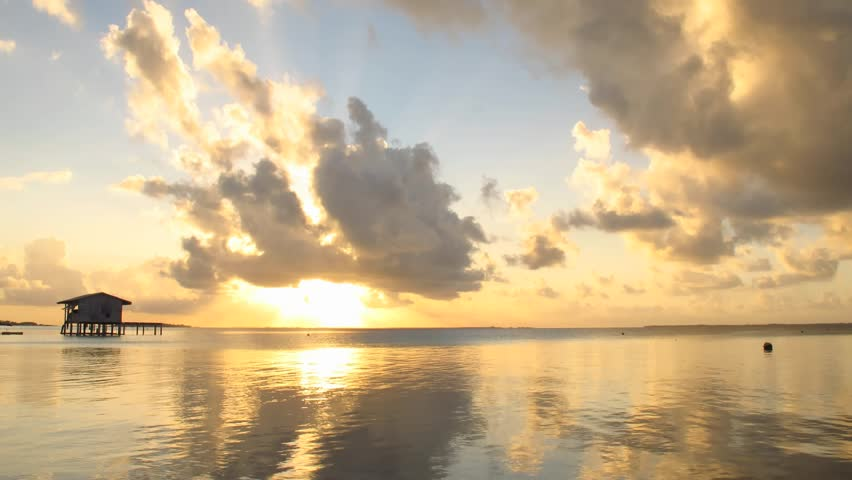 Time Lapse Sunset and Clouds over Manihi Lagoon, Tuamotos, French Polynesia