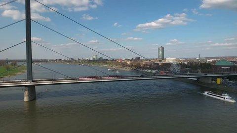 Aerial Flight Dusseldorf - tram on bridge
