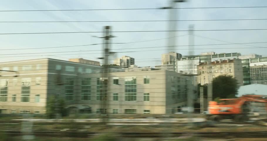 Paris suburb seen from the high speed motion TGV train