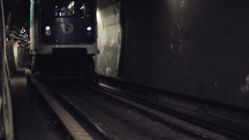Subway Tunnel Metro Arrival Low Angle, Paris. Subway tunnel with train arrival in the station towards camera. Paris, France. | Shutterstock HD Video #15905707