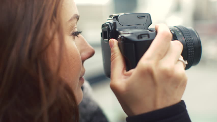 Beautiful Young Female Photographer Taking Pictures , Puts the Focus , the Camera Selects the Purpose of Shooting , Show on the Screen Shot , Photoshoot , Girl With Camera 4k