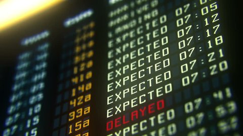 Flights canceled or delayed on information board, terrorism threat at airport