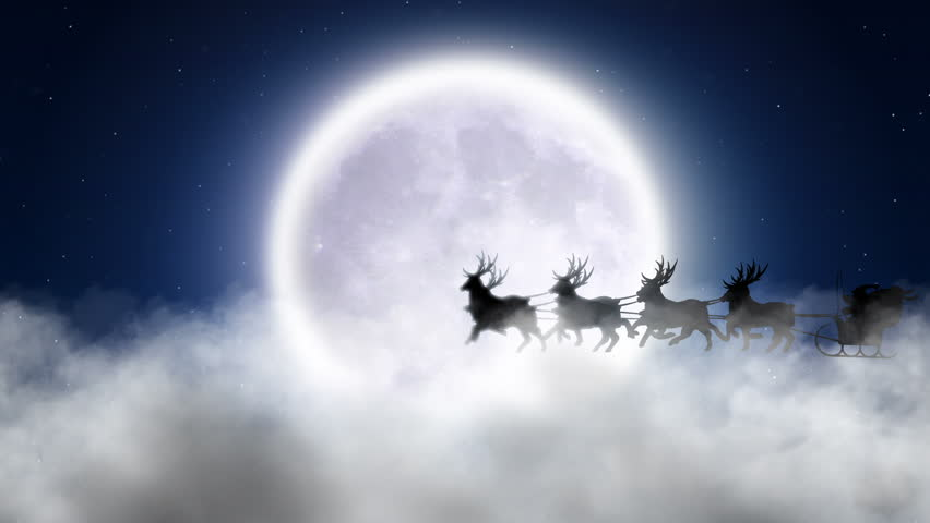 Santa With Reindeer Fly Over Moon