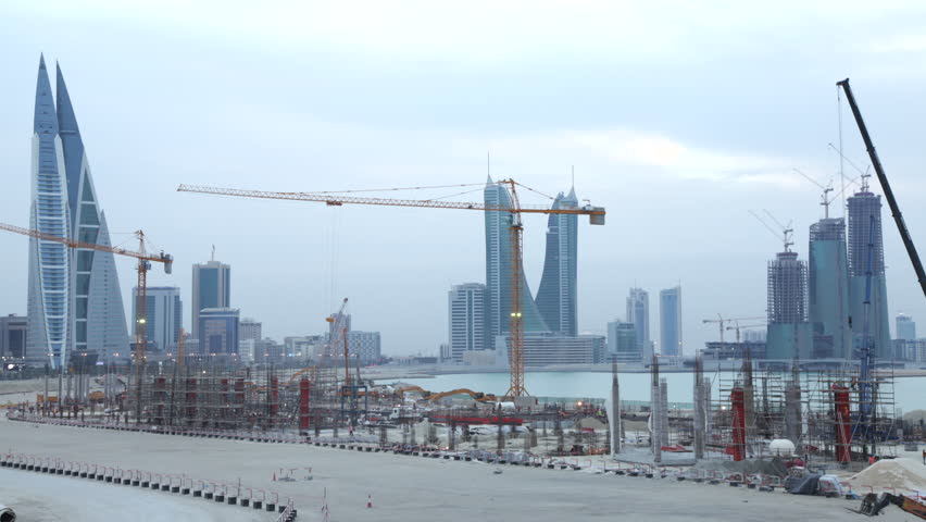 Manama, CIRCA March 2016:Construction Site in Manama. Timelapse at Dusk. City Skyline on the background.