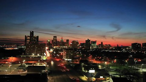 Late evening view of Detroit, Michigan (time-lapse)