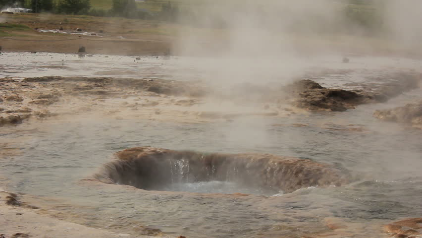 "Eruption of Iceland's largest geyser ""Strokkur"" (close-up)"