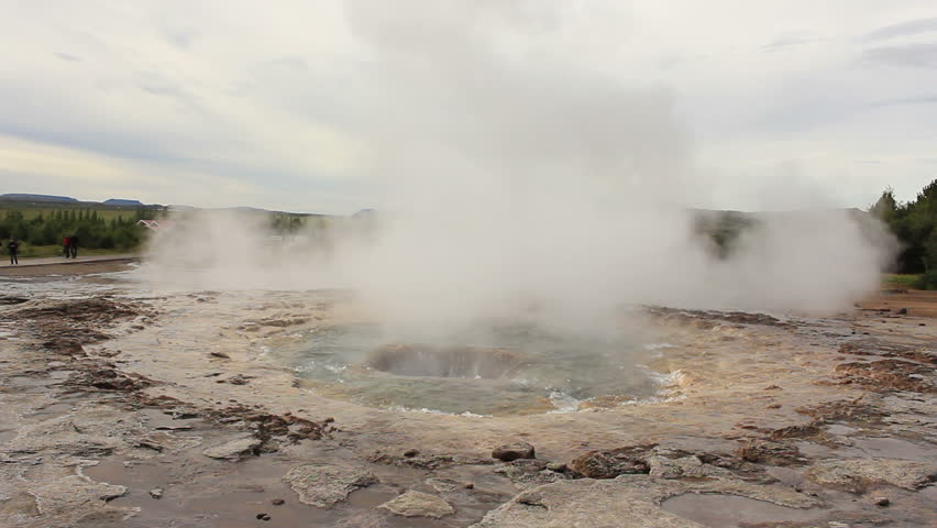 "Rare double eruption of Iceland's largest geyser ""Strokkur""(wide shot)"