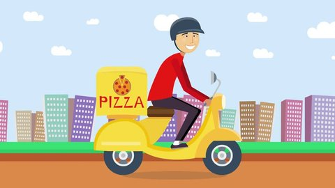 Pizza or food delivery concept. Boy riding on scooter or motorcycle, delivering fastfood. Fast and free transport. Free shipping, pizza restaurant service. Cartoon animation
