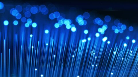Moving over Optical Fibers with Flashing Light Signals. Technology Concept 3d animation. Blur with DOF. HD 1080.
